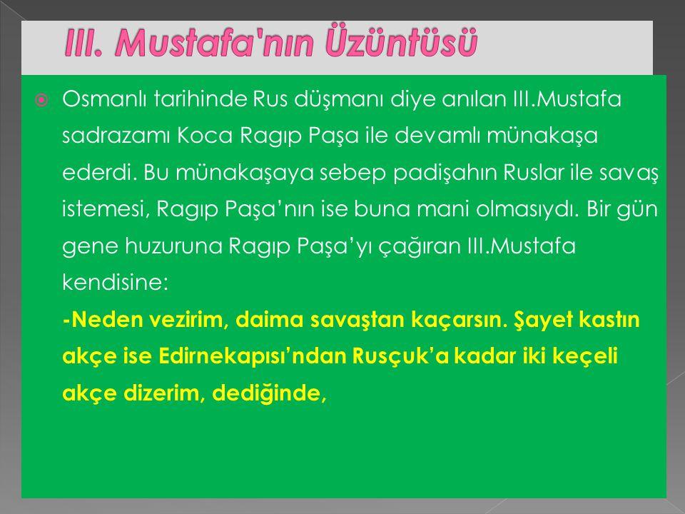  Osmanlı tarihinde Rus düşmanı diye anılan III.Mustafa sadrazamı Koca Ragıp Paşa ile devamlı münakaşa ederdi.