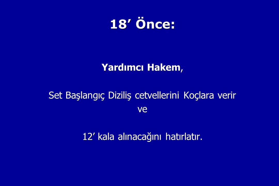 18' Önce: Yardımcı Hakem, Set Başlangıç Diziliş cetvellerini Koçlara verir ve 12' 12' kala alınacağını hatırlatır.