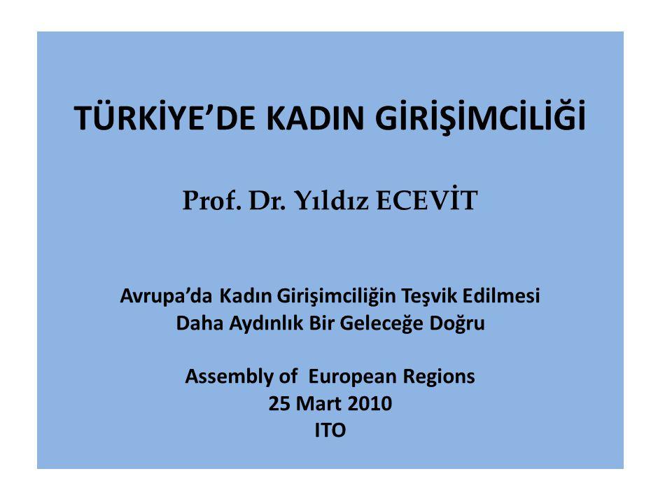 TÜRKİYE'DE KADIN GİRİŞİMCİLİĞİ Prof.Dr.