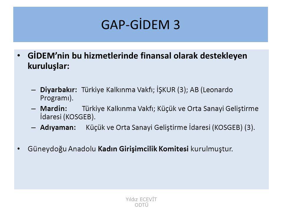 GAP-GİDEM 3 GİDEM'nin bu hizmetlerinde finansal olarak destekleyen kuruluşlar: – Diyarbakır: Türkiye Kalkınma Vakfı; İŞKUR (3); AB (Leonardo Programı).