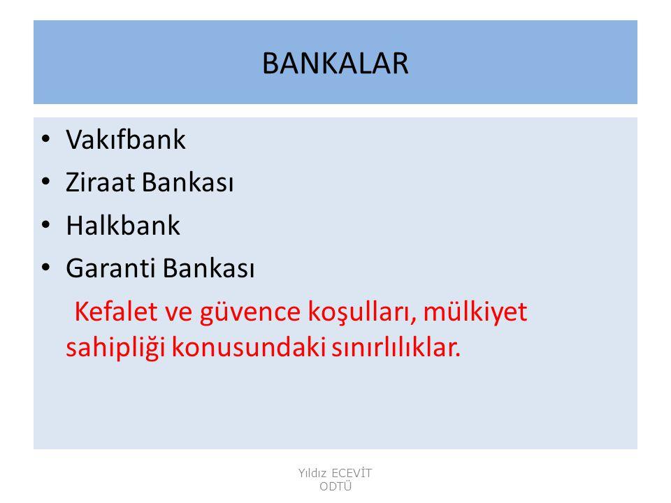 BANKALAR Vakıfbank Ziraat Bankası Halkbank Garanti Bankası Kefalet ve güvence koşulları, mülkiyet sahipliği konusundaki sınırlılıklar.