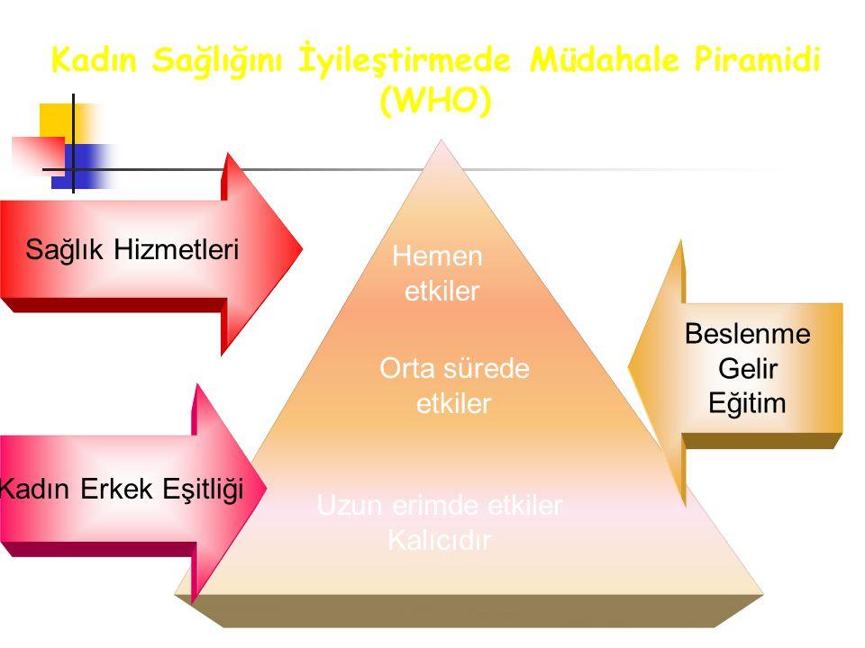 Kadın Sağlığını İyileştirmede Müdahale Piramidi (WHO) Sağlık Hizmetleri Beslenme Gelir Eğitim Kadın Erkek Eşitliği Hemen etkiler Orta sürede etkiler U