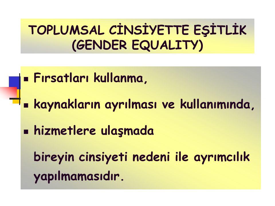 TOPLUMSAL CİNSİYETTE HAKKANİYET (GENDER EQUITY) Kadın ve erkek arasında sorumlulukların ve gelirin dağılımında adalet ve hakkaniyetin Olmasıdır OLUMLU AYRIMCILIK YAPILMASINI GEREKTİREBİLİR !!!