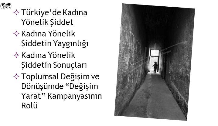  Türkiye'de Kadına Yönelik Şiddet  Kadına Yönelik Şiddetin Yaygınlığı  Kadına Yönelik Şiddetin Sonuçları  Toplumsal Değişim ve Dönüşümde Değişim Yarat Kampanyasının Rolü