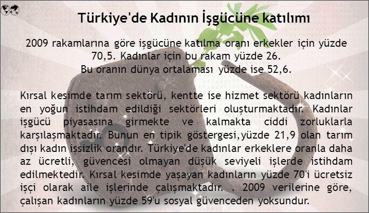 Türkiye de Kadının İşgücüne katılımı 2009 rakamlarına göre işgücüne katılma oranı erkekler için yüzde 70,5.