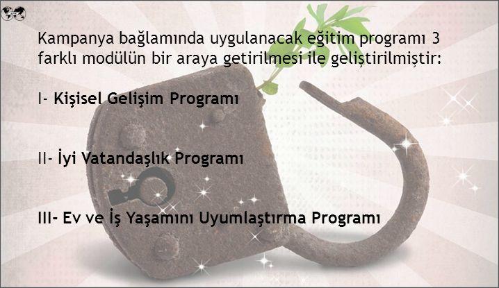 Kampanya bağlamında uygulanacak eğitim programı 3 farklı modülün bir araya getirilmesi ile geliştirilmiştir: I- Kişisel Gelişim Programı II- İyi Vatandaşlık Programı III- Ev ve İş Yaşamını Uyumlaştırma Programı