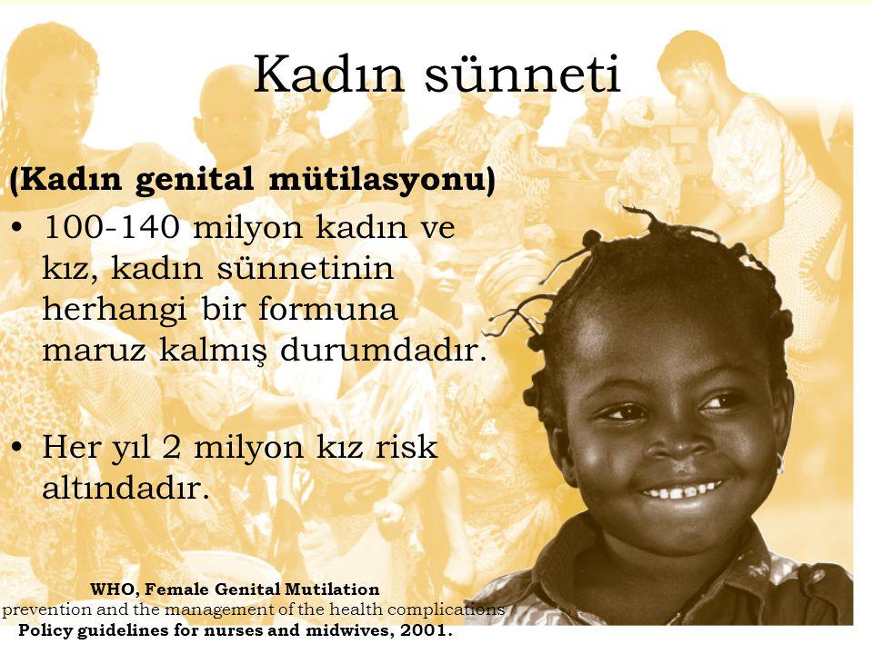 Kadın sünneti (Kadın genital mütilasyonu) 100-140 milyon kadın ve kız, kadın sünnetinin herhangi bir formuna maruz kalmış durumdadır. Her yıl 2 milyon
