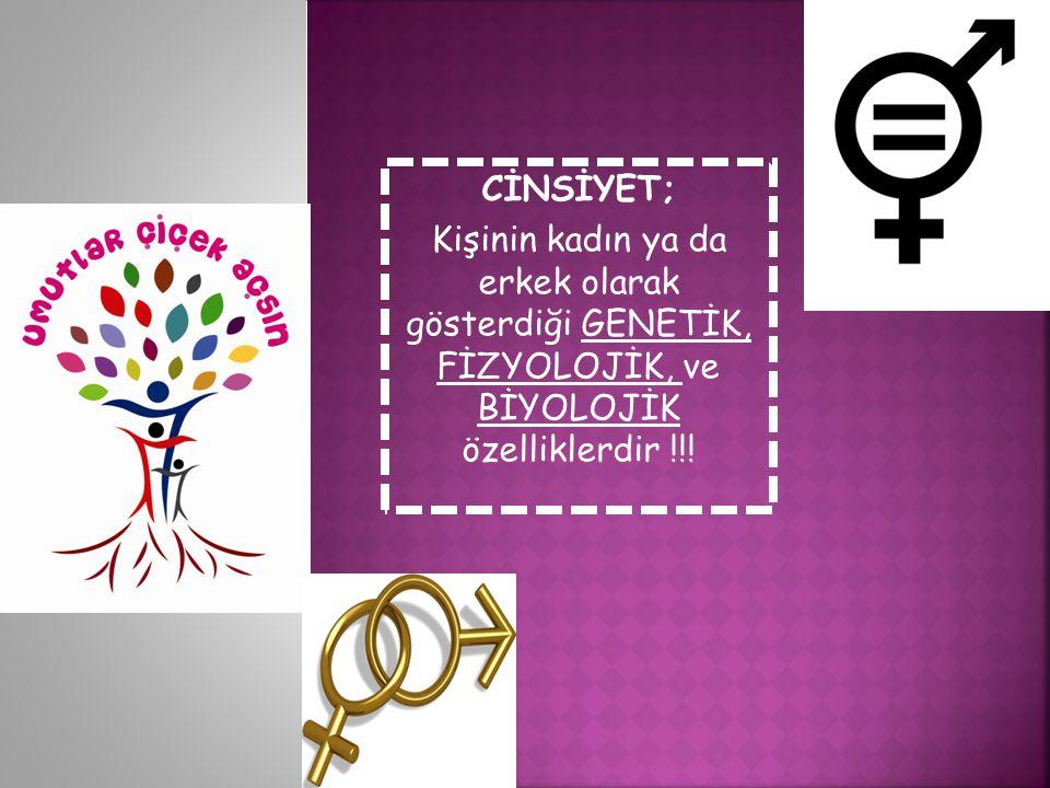 CİNSİYET; Kişinin kadın ya da erkek olarak gösterdiği GENETİK, FİZYOLOJİK, ve BİYOLOJİK özelliklerdir !!!