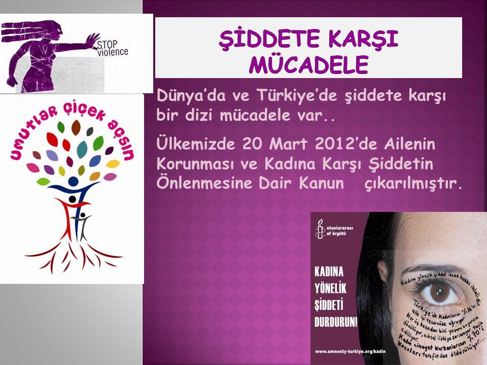 Dünya'da ve Türkiye'de şiddete karşı bir dizi mücadele var.. Ülkemizde 20 Mart 2012'de Ailenin Korunması ve Kadına Karşı Şiddetin Önlenmesine Dair Kan