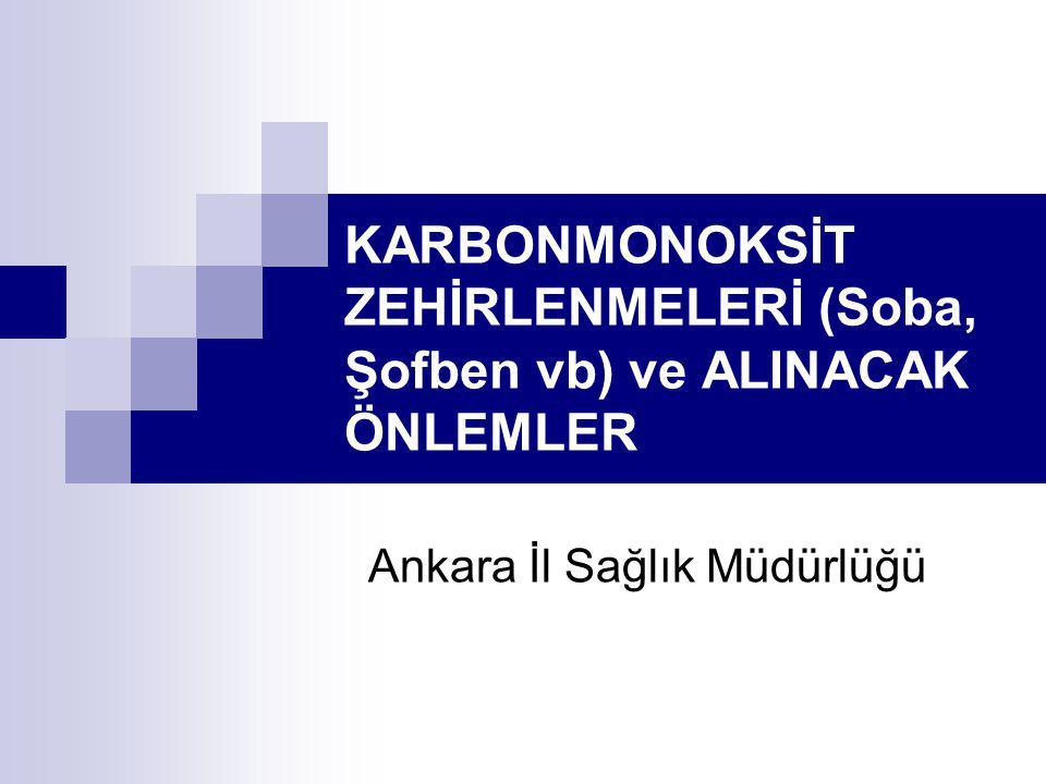 KARBONMONOKSİT ZEHİRLENMELERİ (Soba, Şofben vb) ve ALINACAK ÖNLEMLER Ankara İl Sağlık Müdürlüğü