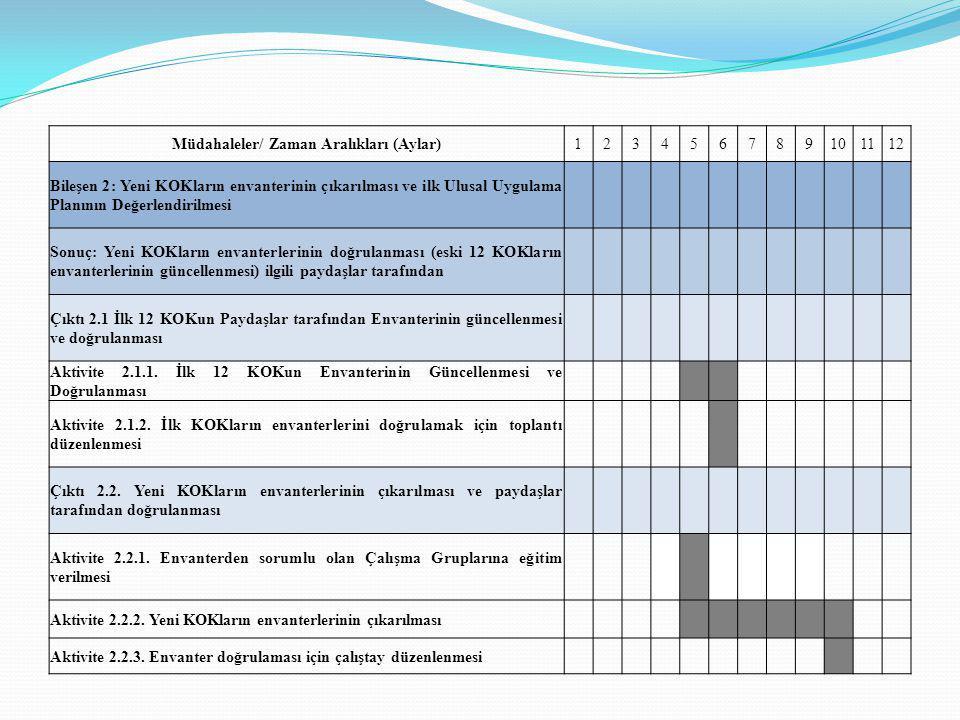 Müdahaleler/ Zaman Aralıkları (Aylar)123456789101112 Bileşen 2: Yeni KOKların envanterinin çıkarılması ve ilk Ulusal Uygulama Planının Değerlendirilme