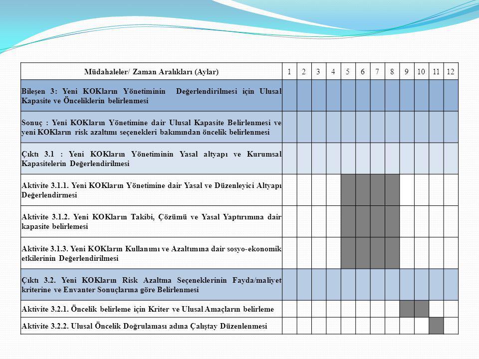 Müdahaleler/ Zaman Aralıkları (Aylar)123456789101112 Bileşen 3: Yeni KOKların Yönetiminin Değerlendirilmesi için Ulusal Kapasite ve Önceliklerin belir