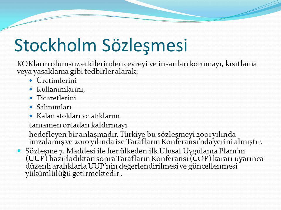 Stockholm Sözleşmesi KOKların olumsuz etkilerinden çevreyi ve insanları korumayı, kısıtlama veya yasaklama gibi tedbirler alarak; Üretimlerini Kullanı