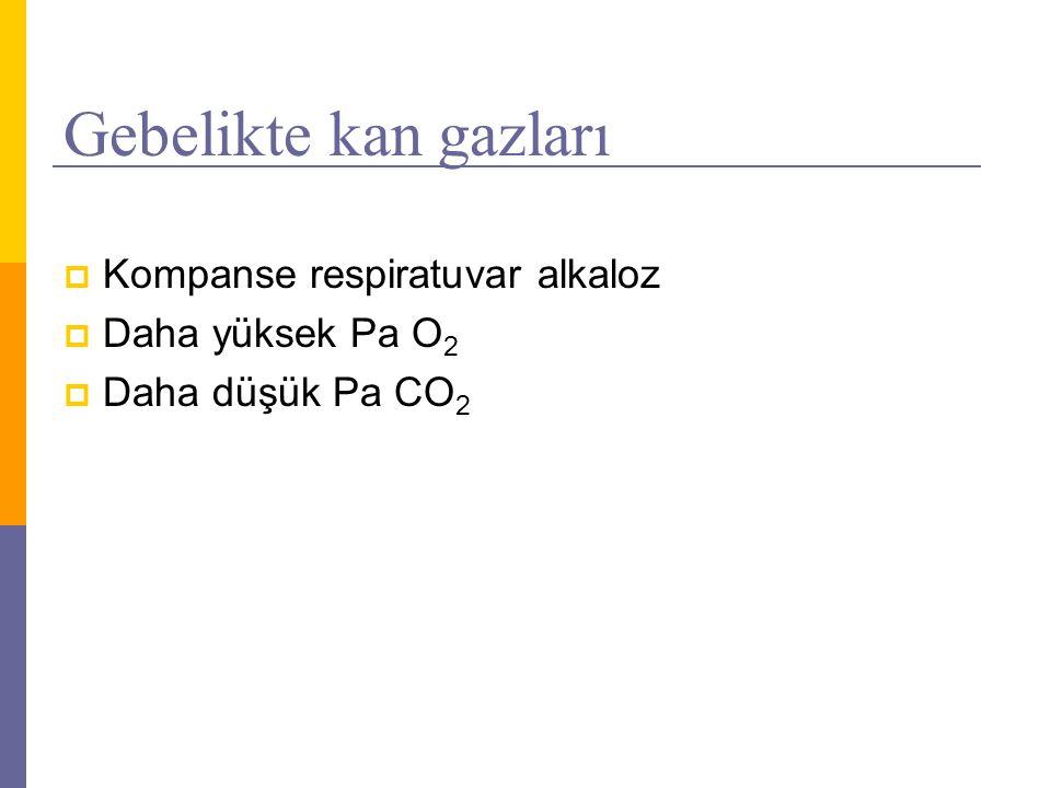 Gebelikte kan gazları  Kompanse respiratuvar alkaloz  Daha yüksek Pa O 2  Daha düşük Pa CO 2