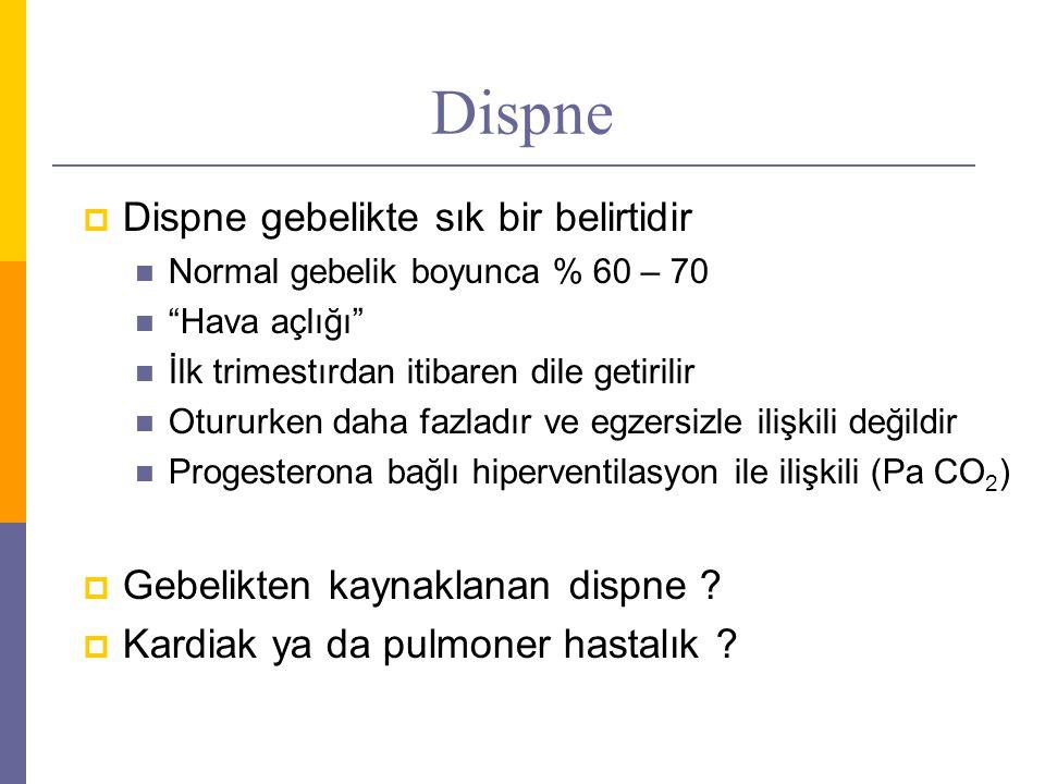 """Dispne  Dispne gebelikte sık bir belirtidir Normal gebelik boyunca % 60 – 70 """"Hava açlığı"""" İlk trimestırdan itibaren dile getirilir Otururken daha fa"""