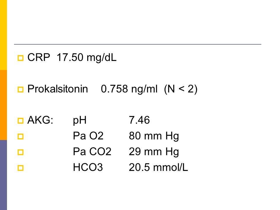  CRP 17.50 mg/dL  Prokalsitonin0.758 ng/ml (N < 2)  AKG:pH7.46  Pa O280 mm Hg  Pa CO229 mm Hg  HCO320.5 mmol/L