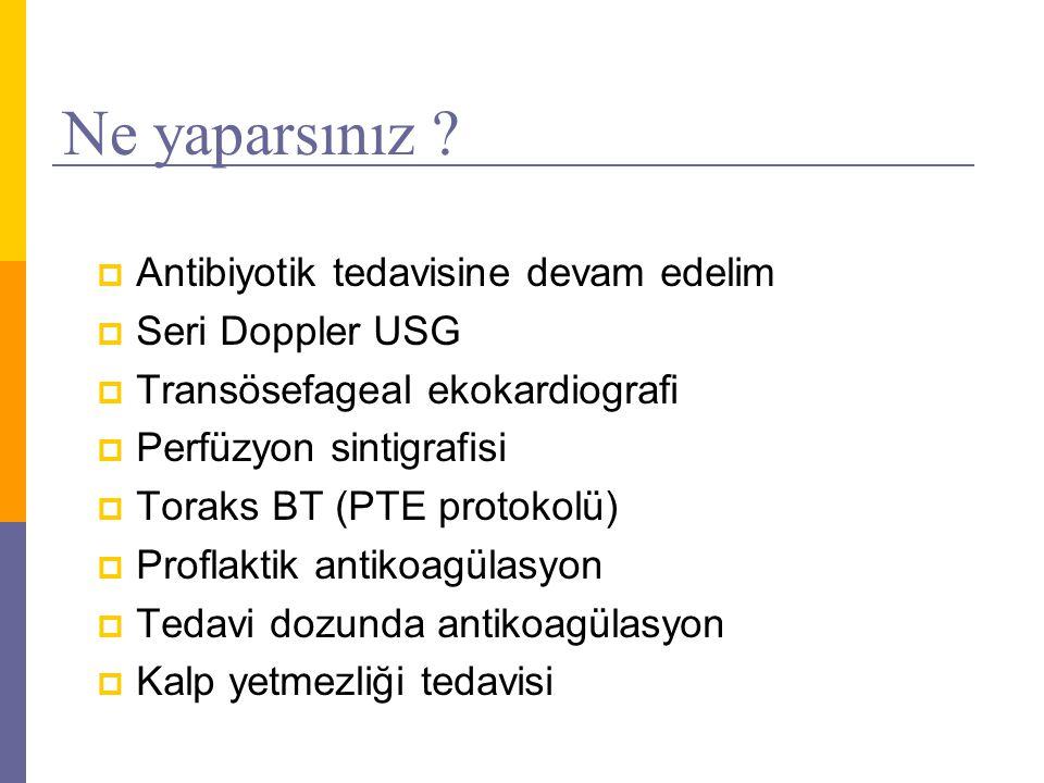Ne yaparsınız ?  Antibiyotik tedavisine devam edelim  Seri Doppler USG  Transösefageal ekokardiografi  Perfüzyon sintigrafisi  Toraks BT (PTE pro