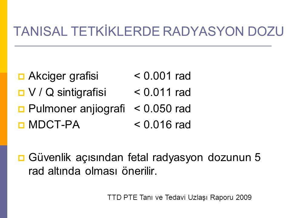 TANISAL TETKİKLERDE RADYASYON DOZU  Akciger grafisi< 0.001 rad  V / Q sintigrafisi< 0.011 rad  Pulmoner anjiografi< 0.050 rad  MDCT-PA< 0.016 rad