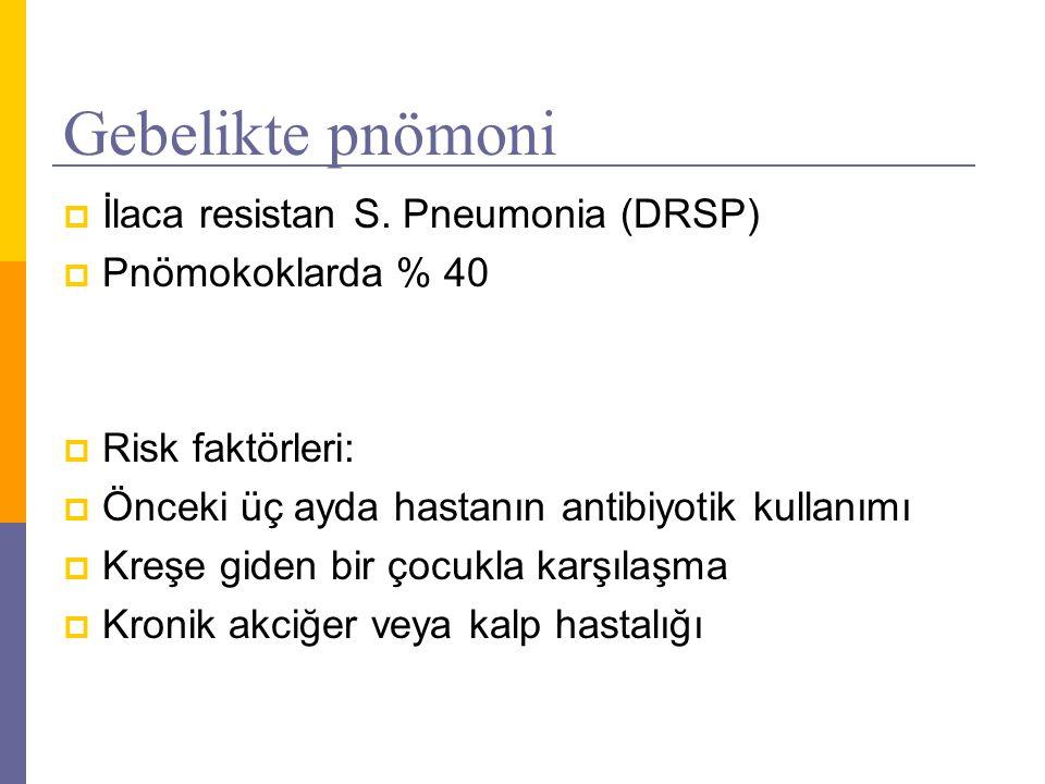 Gebelikte pnömoni  İlaca resistan S. Pneumonia (DRSP)  Pnömokoklarda % 40  Risk faktörleri:  Önceki üç ayda hastanın antibiyotik kullanımı  Kreşe