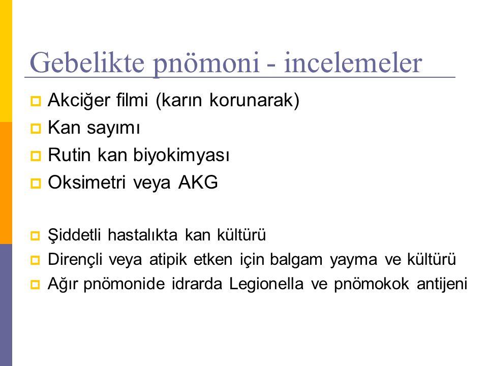 Gebelikte pnömoni tedavisi  Başlangıçta ampirik tedavi S.