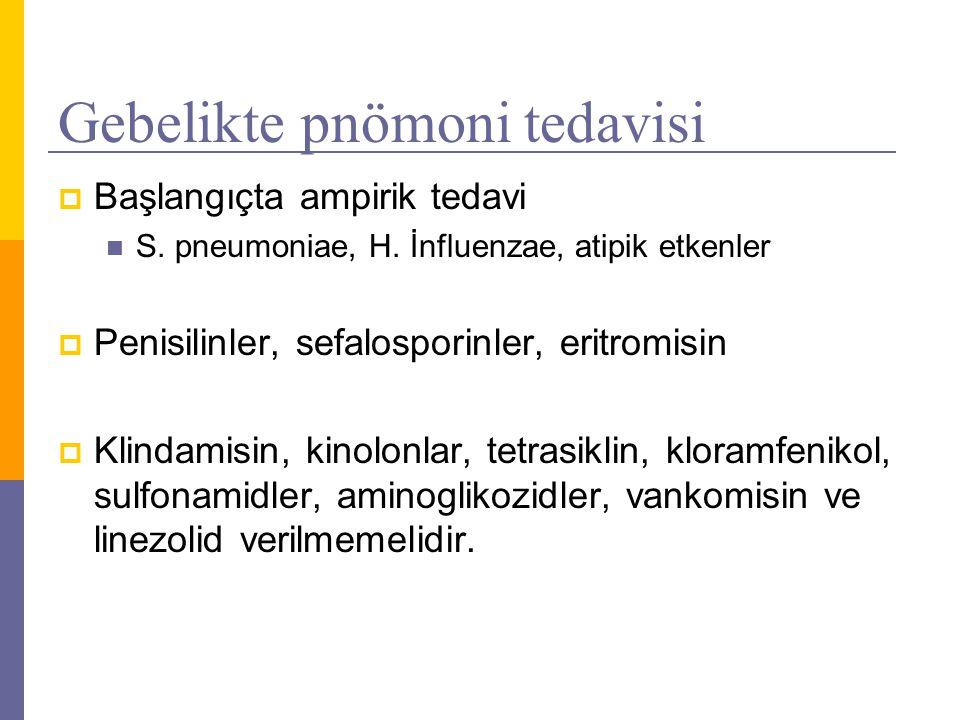 Gebelikte pnömoni tedavisi  Başlangıçta ampirik tedavi S. pneumoniae, H. İnfluenzae, atipik etkenler  Penisilinler, sefalosporinler, eritromisin  K