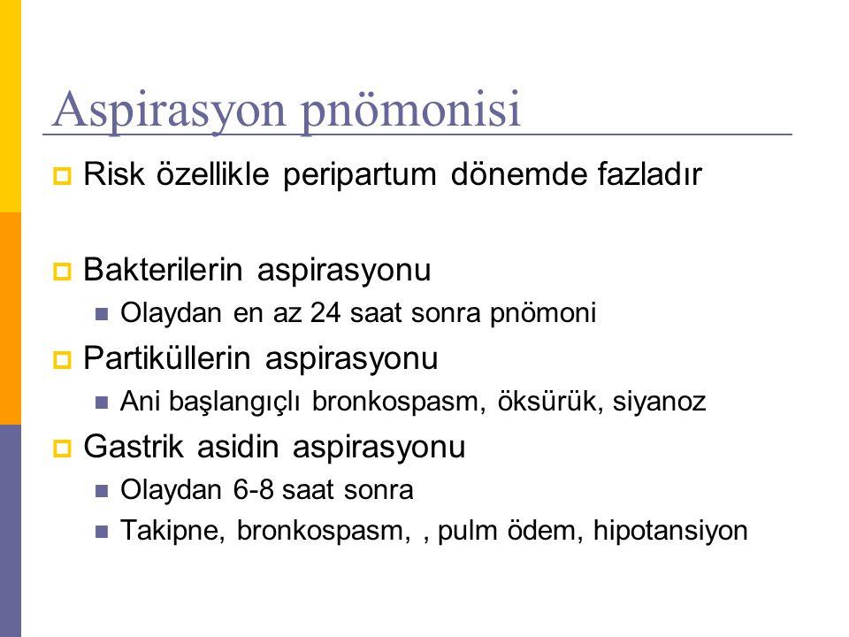 Aspirasyon pnömonisi  Risk özellikle peripartum dönemde fazladır  Bakterilerin aspirasyonu Olaydan en az 24 saat sonra pnömoni  Partiküllerin aspir