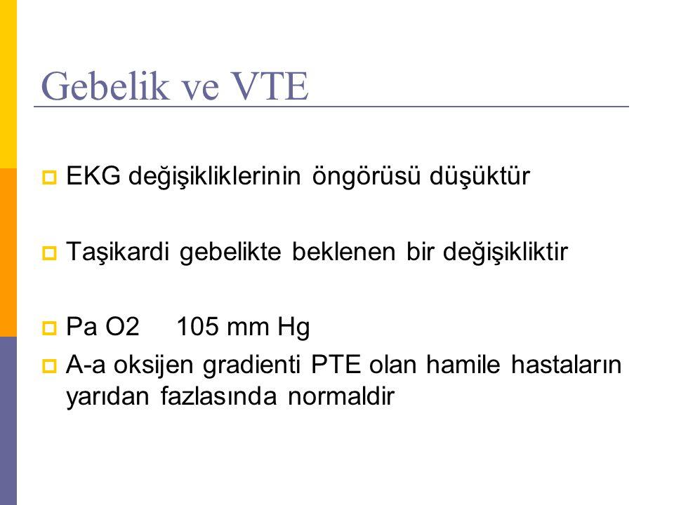 Gebelik ve VTE  EKG değişikliklerinin öngörüsü düşüktür  Taşikardi gebelikte beklenen bir değişikliktir  Pa O2105 mm Hg  A-a oksijen gradienti PTE