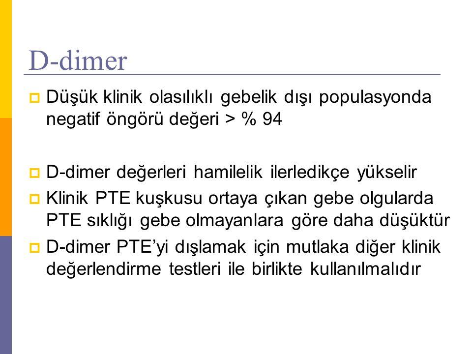 D-dimer  Düşük klinik olasılıklı gebelik dışı populasyonda negatif öngörü değeri > % 94  D-dimer değerleri hamilelik ilerledikçe yükselir  Klinik P