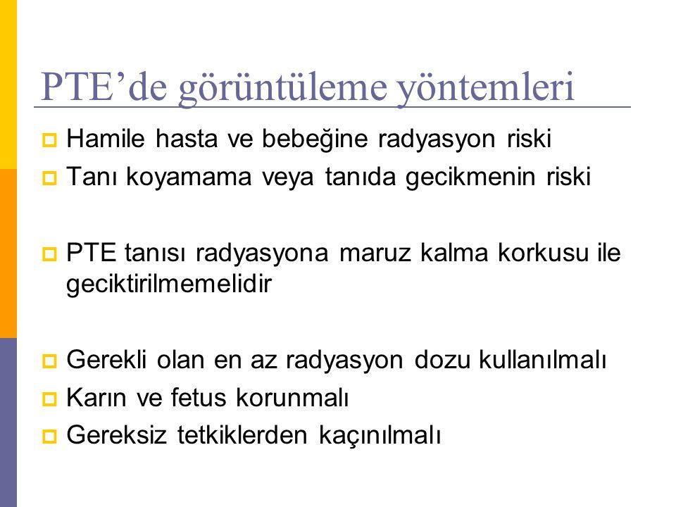 PTE'de görüntüleme yöntemleri  Hamile hasta ve bebeğine radyasyon riski  Tanı koyamama veya tanıda gecikmenin riski  PTE tanısı radyasyona maruz ka