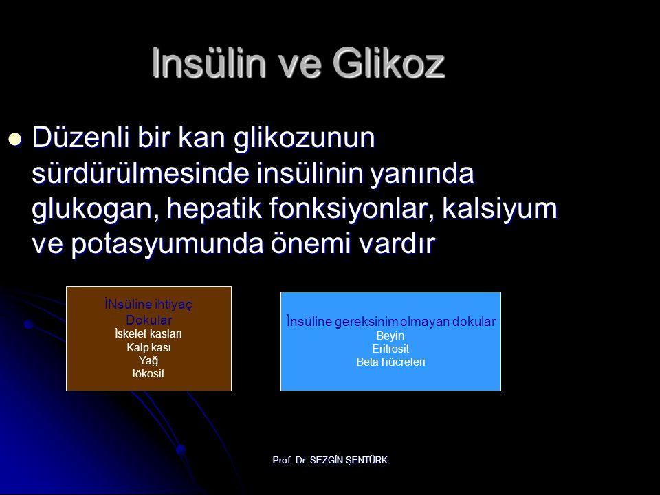 Prof. Dr. SEZGİN ŞENTÜRK Insülin ve Glikoz Düzenli bir kan glikozunun sürdürülmesinde insülinin yanında glukogan, hepatik fonksiyonlar, kalsiyum ve po