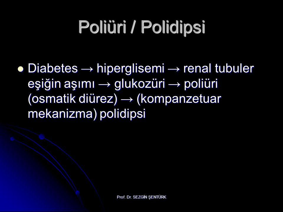 Prof. Dr. SEZGİN ŞENTÜRK Poliüri / Polidipsi Diabetes → hiperglisemi → renal tubuler eşiğin aşımı → glukozüri → poliüri (osmatik diürez) → (kompanzetu