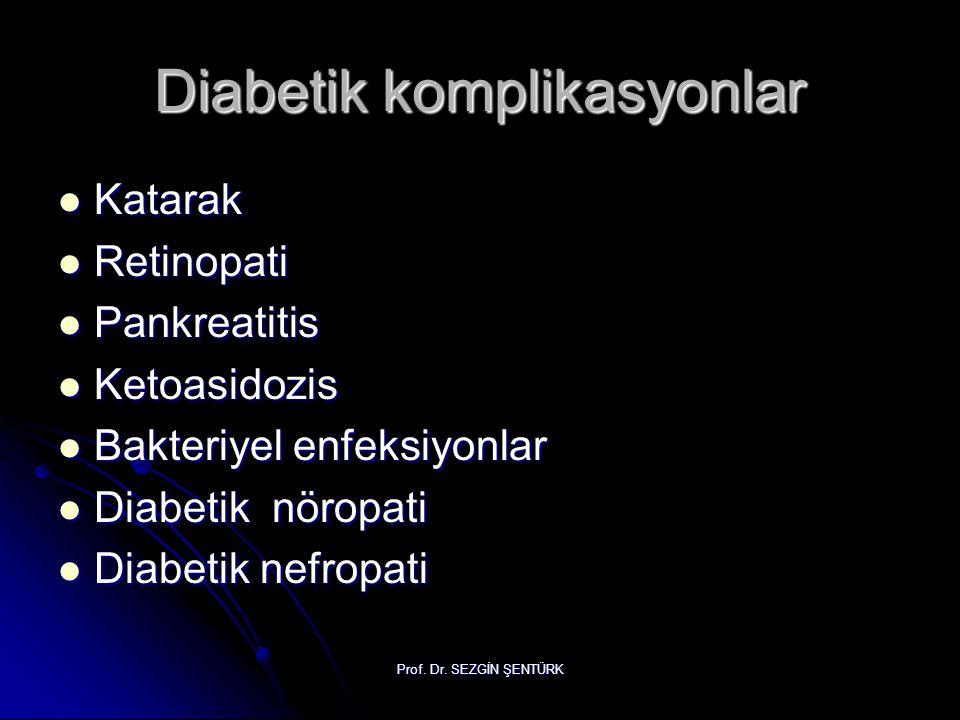 Prof. Dr. SEZGİN ŞENTÜRK Diabetik komplikasyonlar Katarak Katarak Retinopati Retinopati Pankreatitis Pankreatitis Ketoasidozis Ketoasidozis Bakteriyel