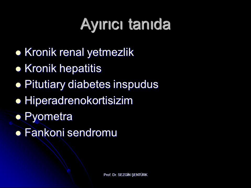 Prof. Dr. SEZGİN ŞENTÜRK Ayırıcı tanıda Kronik renal yetmezlik Kronik renal yetmezlik Kronik hepatitis Kronik hepatitis Pitutiary diabetes inspudus Pi