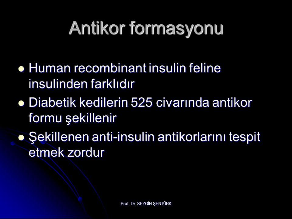 Prof. Dr. SEZGİN ŞENTÜRK Antikor formasyonu Human recombinant insulin feline insulinden farklıdır Human recombinant insulin feline insulinden farklıdı