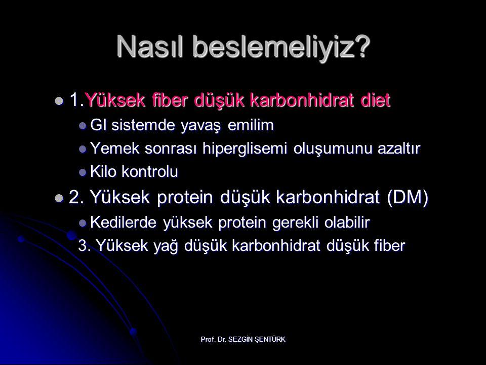 Nasıl beslemeliyiz? 1.Yüksek fiber düşük karbonhidrat diet 1.Yüksek fiber düşük karbonhidrat diet GI sistemde yavaş emilim GI sistemde yavaş emilim Ye