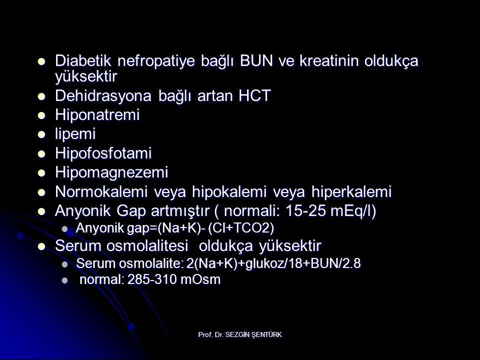 Prof. Dr. SEZGİN ŞENTÜRK Diabetik nefropatiye bağlı BUN ve kreatinin oldukça yüksektir Diabetik nefropatiye bağlı BUN ve kreatinin oldukça yüksektir D