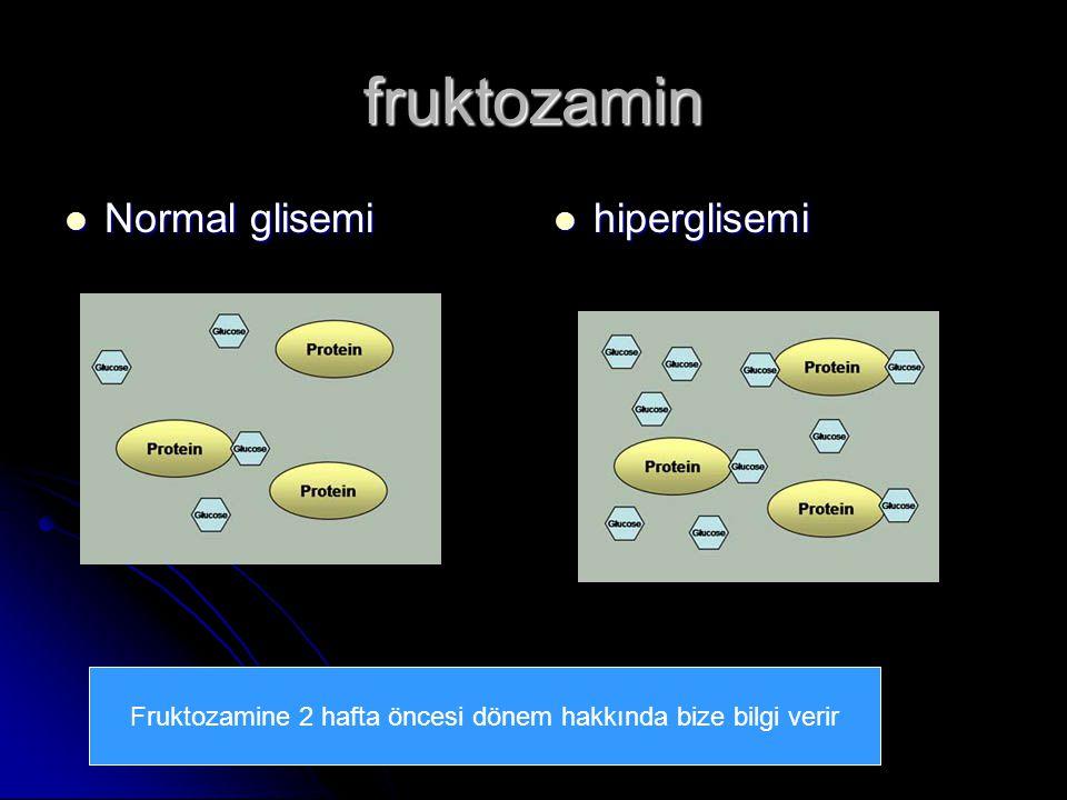 Prof. Dr. SEZGİN ŞENTÜRK fruktozamin Normal glisemi Normal glisemi hiperglisemi hiperglisemi Fruktozamine 2 hafta öncesi dönem hakkında bize bilgi ver