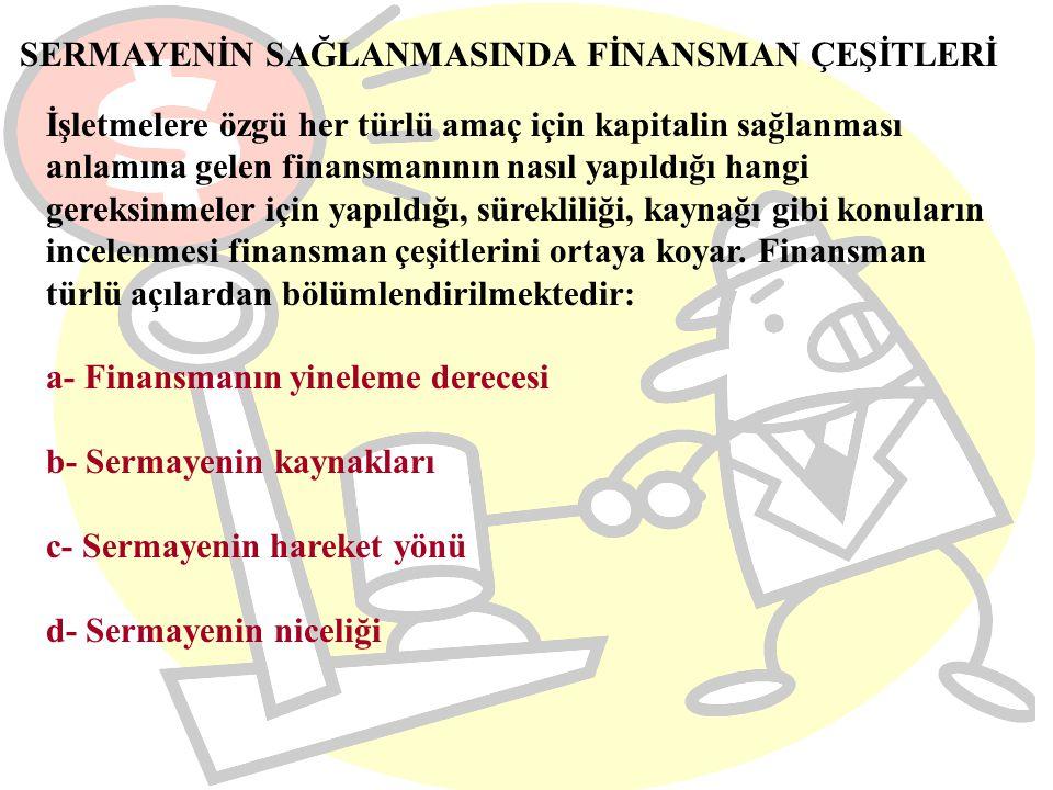 SERMAYENİN SAĞLANMASINDA FİNANSMAN ÇEŞİTLERİ İşletmelere özgü her türlü amaç için kapitalin sağlanması anlamına gelen finansmanının nasıl yapıldığı ha