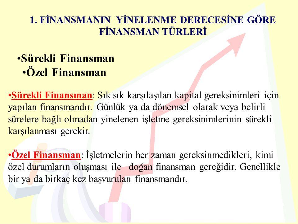 1. FİNANSMANIN YİNELENME DERECESİNE GÖRE FİNANSMAN TÜRLERİ Sürekli Finansman Özel Finansman Sürekli Finansman: Sık sık karşılaşılan kapital gereksinim