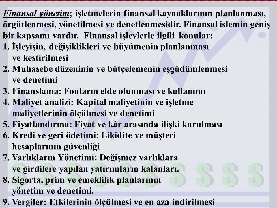 Finansal yönetim; işletmelerin finansal kaynaklarının planlanması, örgütlenmesi, yönetilmesi ve denetlenmesidir. Finansal işlemin geniş bir kapsamı va