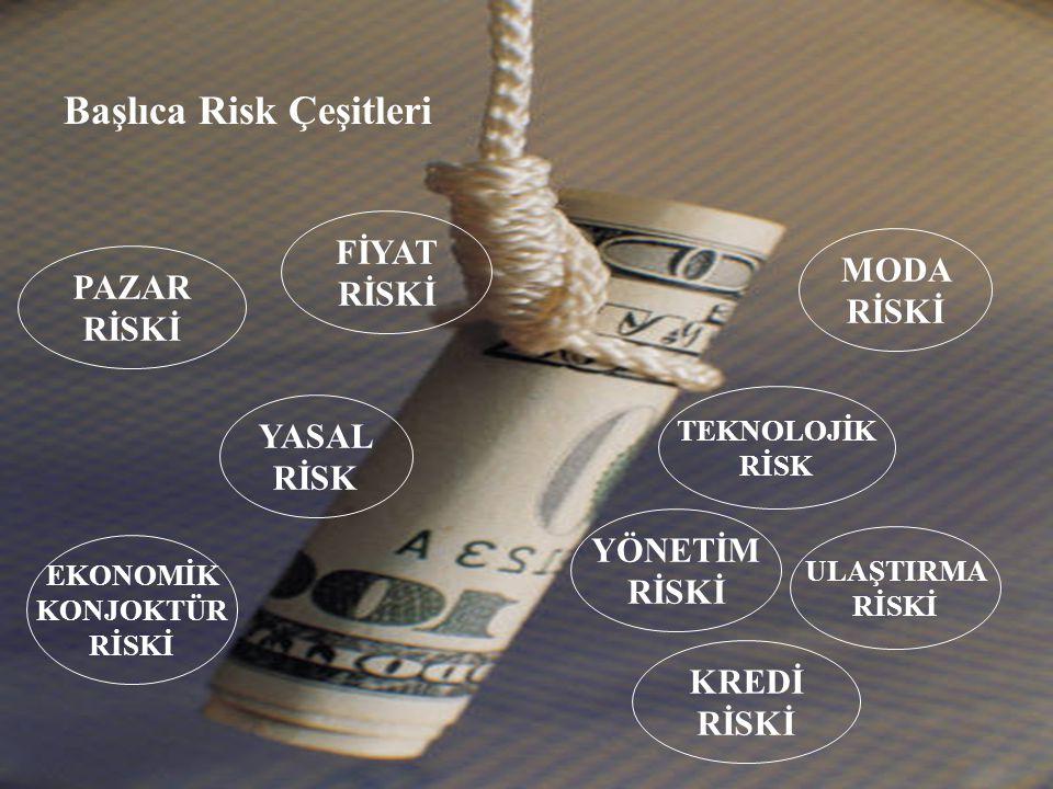 PAZAR RİSKİ FİYAT RİSKİ MODA RİSKİ ULAŞTIRMA RİSKİ YÖNETİM RİSKİ EKONOMİK KONJOKTÜR RİSKİ KREDİ RİSKİ TEKNOLOJİK RİSK YASAL RİSK Başlıca Risk Çeşitler