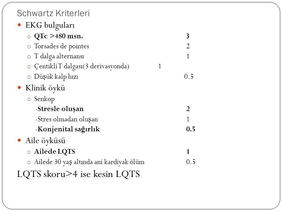 Schwartz Kriterleri EKG bulguları o QTc >480 msn.