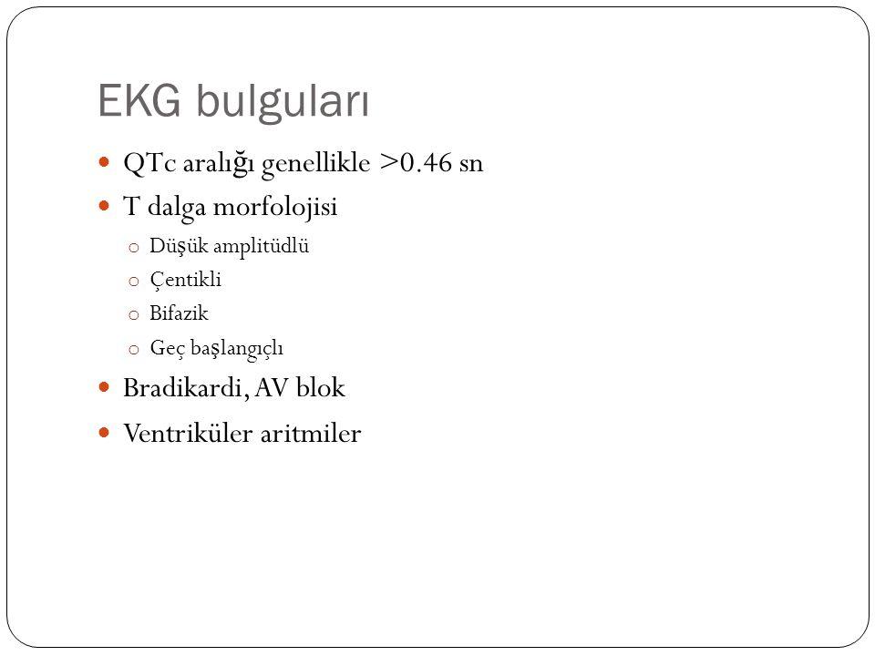EKG bulguları QTc aralı ğ ı genellikle >0.46 sn T dalga morfolojisi o Dü ş ük amplitüdlü o Çentikli o Bifazik o Geç ba ş langıçlı Bradikardi, AV blok Ventriküler aritmiler