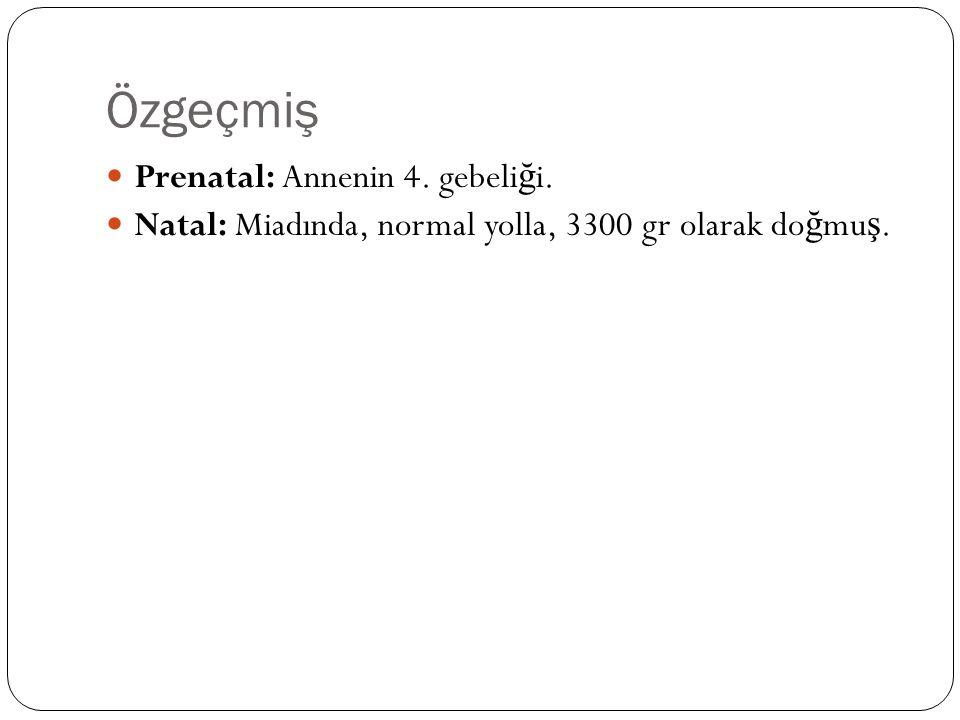 Özgeçmiş Prenatal: Annenin 4. gebeli ğ i. Natal: Miadında, normal yolla, 3300 gr olarak do ğ mu ş.