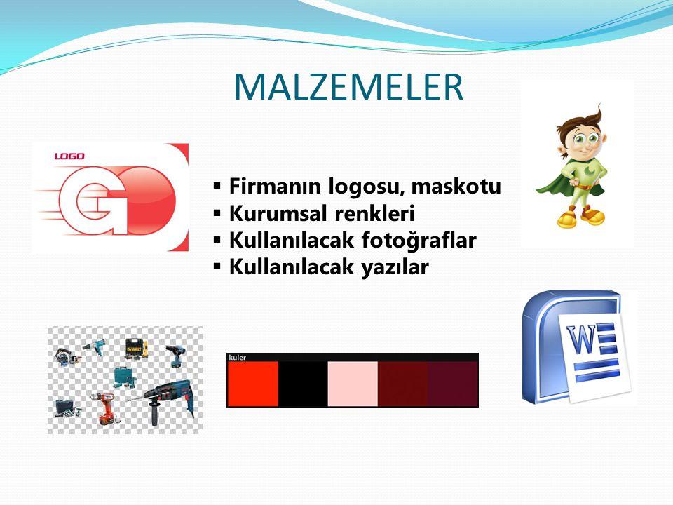 MALZEMELER  Firmanın logosu, maskotu  Kurumsal renkleri  Kullanılacak fotoğraflar  Kullanılacak yazılar