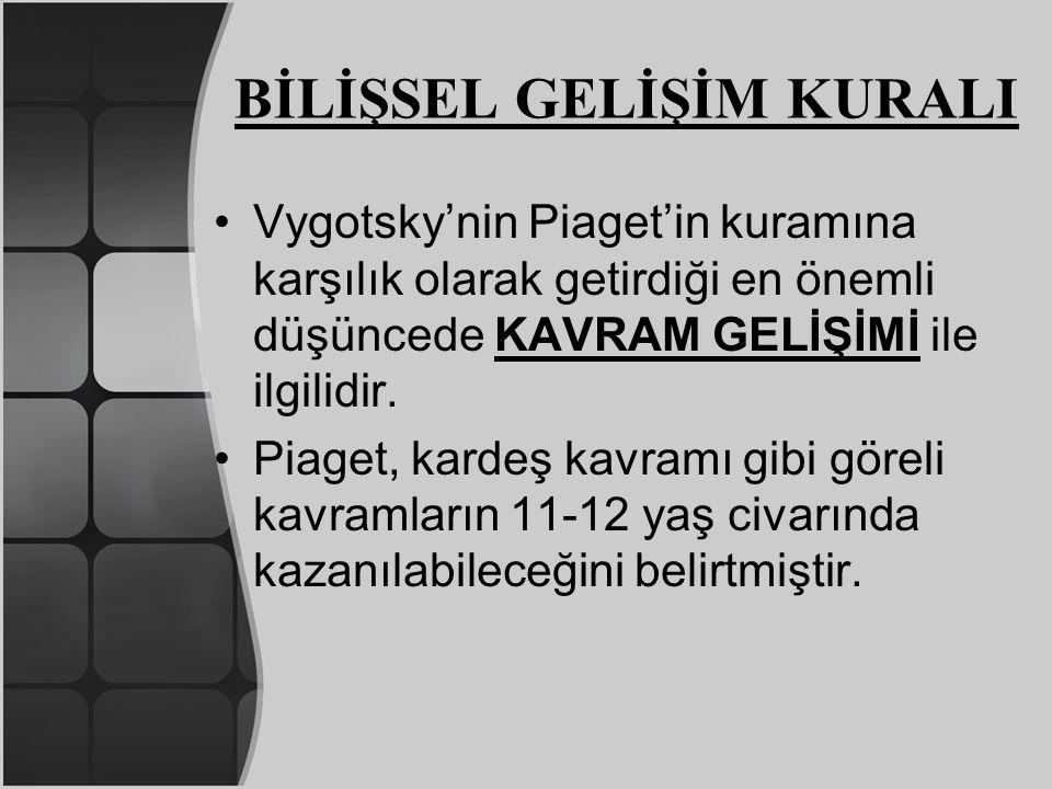 BİLİŞSEL GELİŞİM KURALI Vygotsky'nin Piaget'in kuramına karşılık olarak getirdiği en önemli düşüncede KAVRAM GELİŞİMİ ile ilgilidir. Piaget, kardeş ka