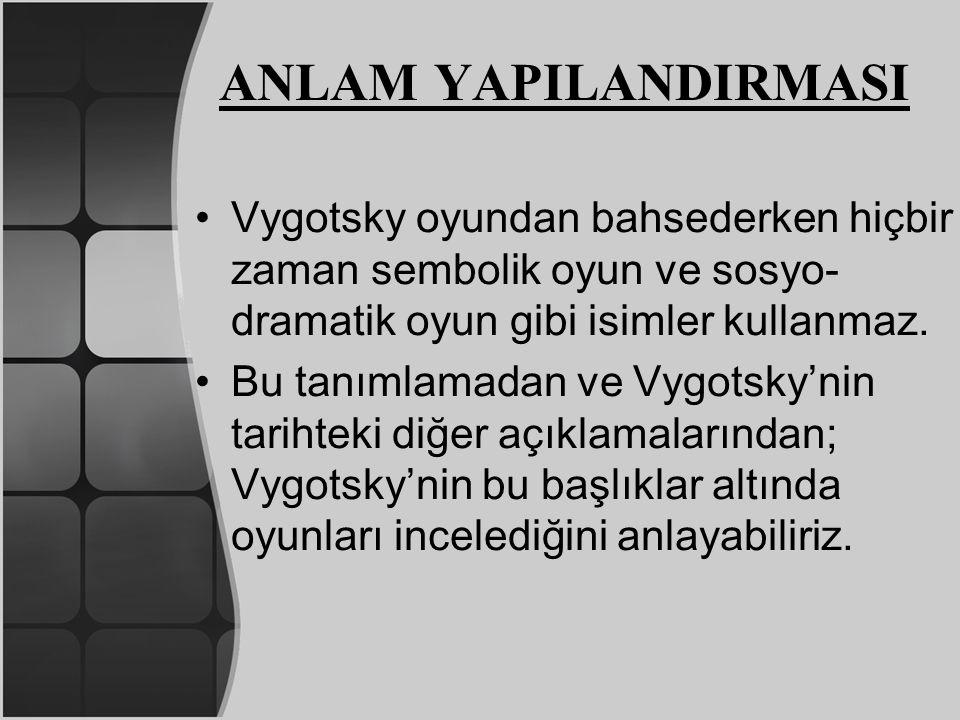 ANLAM YAPILANDIRMASI Vygotsky oyundan bahsederken hiçbir zaman sembolik oyun ve sosyo- dramatik oyun gibi isimler kullanmaz. Bu tanımlamadan ve Vygots