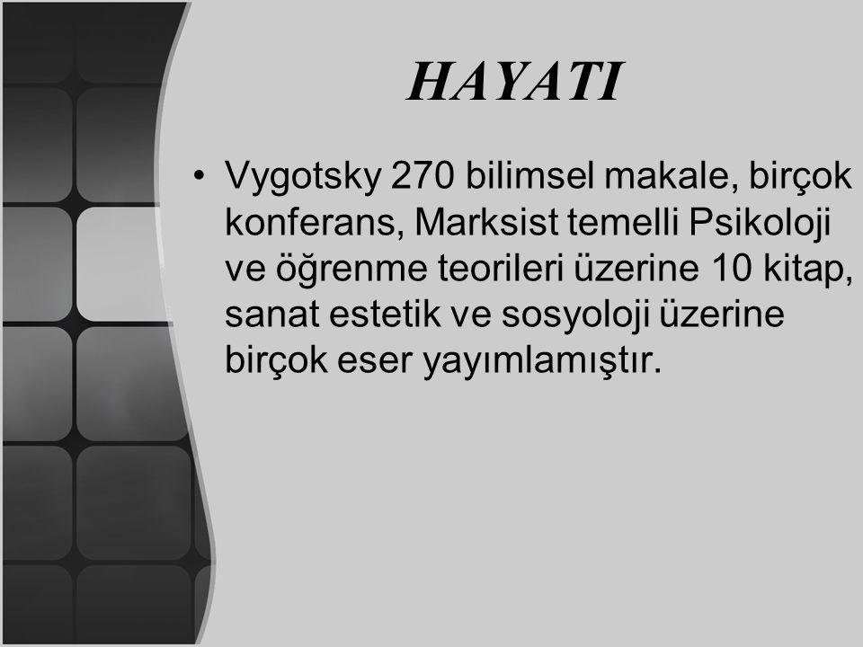 HAYATI Vygotsky 270 bilimsel makale, birçok konferans, Marksist temelli Psikoloji ve öğrenme teorileri üzerine 10 kitap, sanat estetik ve sosyoloji üz
