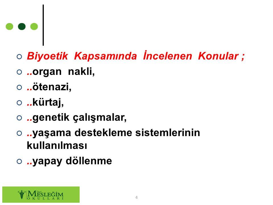 ○ Biyoetik Kapsamında İncelenen Konular ; ○..organ nakli, ○..ötenazi, ○..kürtaj, ○..genetik çalışmalar, ○..yaşama destekleme sistemlerinin kullanılmas