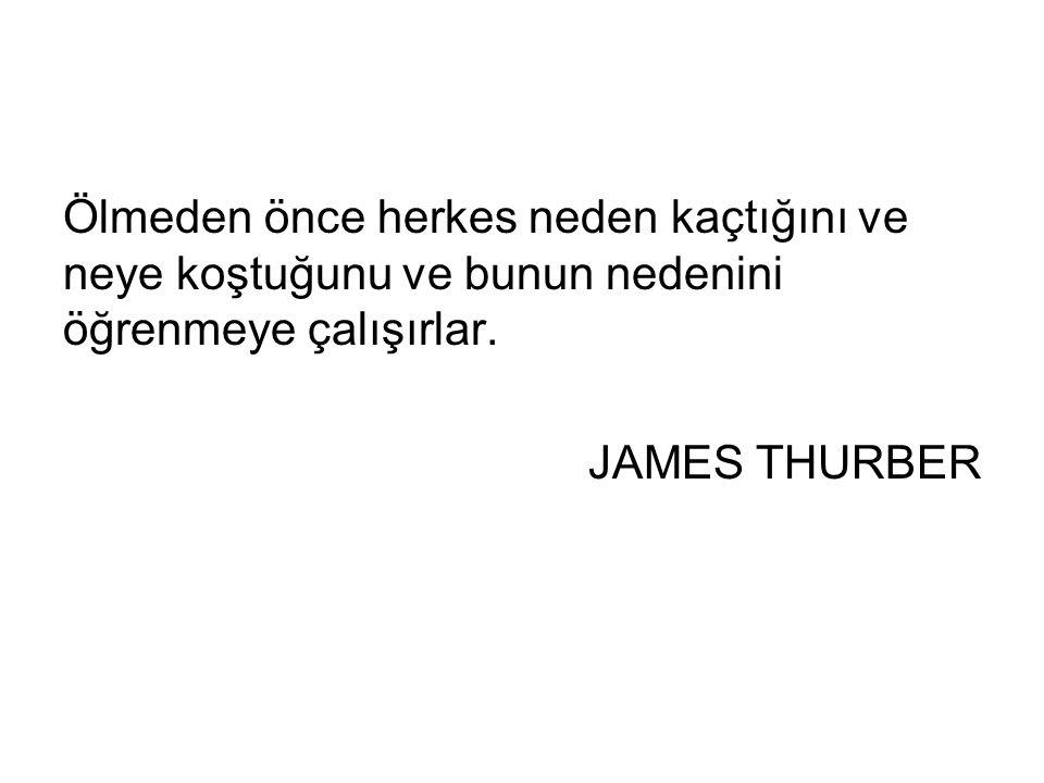 Ölmeden önce herkes neden kaçtığını ve neye koştuğunu ve bunun nedenini öğrenmeye çalışırlar. JAMES THURBER